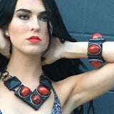 #1003b Retro Red & Black Cuff Bracelet