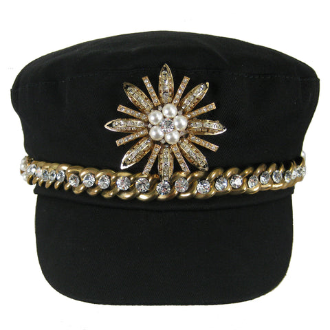 #1003h Black Newsboy Cap With Gold Tone Chain, Rhinestone & Pearl Embellishment