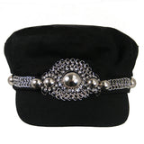 #1004h Black Newsboy Cap With Silver Tone Chain & Button Embellishment