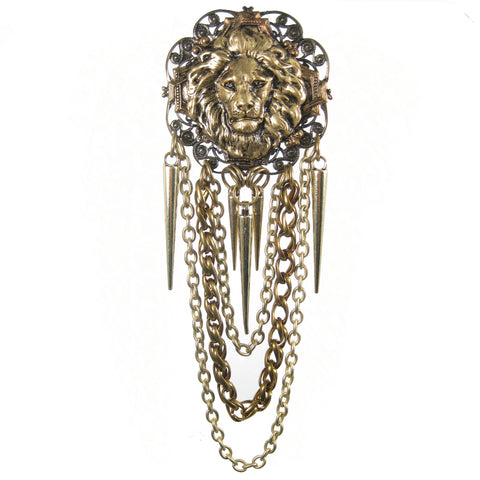 #1004p Old Gold Filigree & Chain Pin With Lion Head