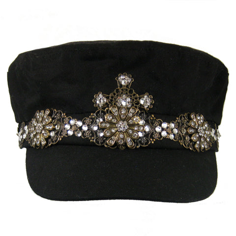 #1005h Black Newsboy Cap With Brass Chain, Filigree & Crystal Rhinestone Embellishment