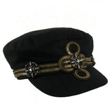 #1006h Black Newsboy Cap With Old Gold Tone Chain & Rhinestone Embellishment