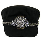 #1007h Black Newsboy Cap With Gunmetal Tone Chain, Silver & Rhinestone Embellishment