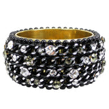 #1008b Black Chain & Rhinestone Embellished Bangle Bracelet