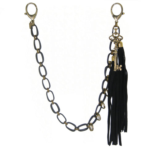#1009bc Black & Gold Tone Belt Chain With Suede Tassels & Key Charm