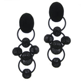 #1009e Black Suede & Metal Mesh Bead Drop Earrings