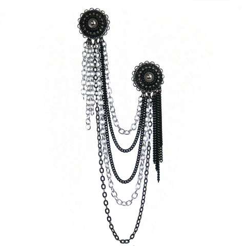 #1009p Silver Tone & Black Chain Double Button Pin