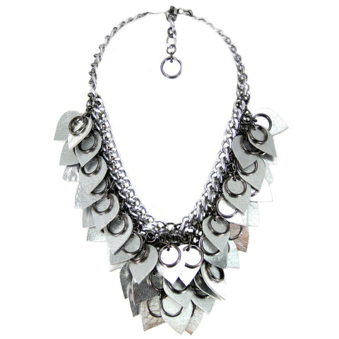 #1010n Chain Mail Bib Necklace with Silver Leather Scales & Gunmetal Rings
