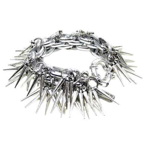 #1010b Silver Tone Chain Bracelet With Spikes