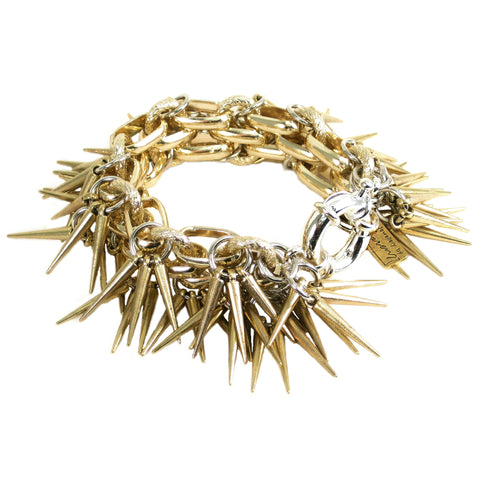 #1010bg Gold & Silver Tone Chain Bracelet With Spikes
