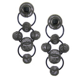 #1011e Gunmetal Metal Mesh Bead Drop Earrings