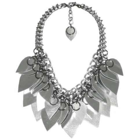 #1011n Chain Mail Bib Necklace with Silver Leather Scales & Gunmetal Rings