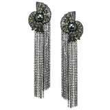 #1013e Gunmetal Mesh & Chain Fringe Long Earrings With Rhinestone & Hematite Detail