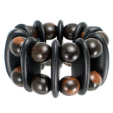 #1015b Ebony & Black Stained Wood Cuff Bracelet
