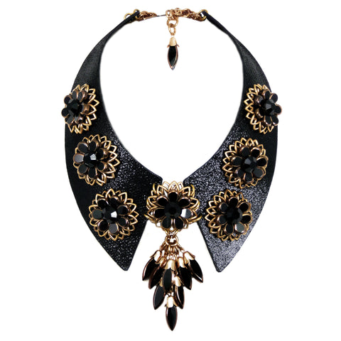 #1015n Black Leather Collar With Jet & Gold Tone Floral Detail