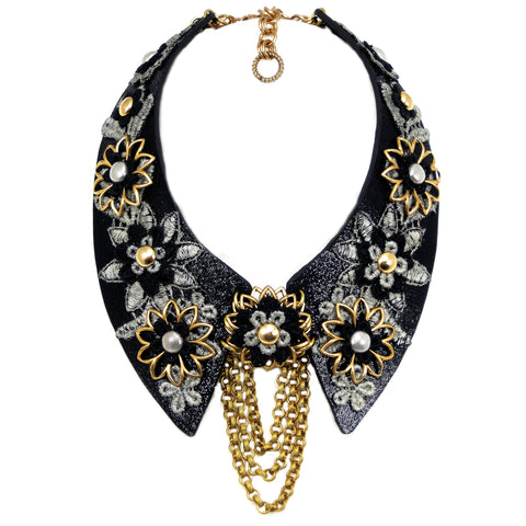 #1016n Black Leather Collar With Silver, Black & Gold Tone Floral Detail