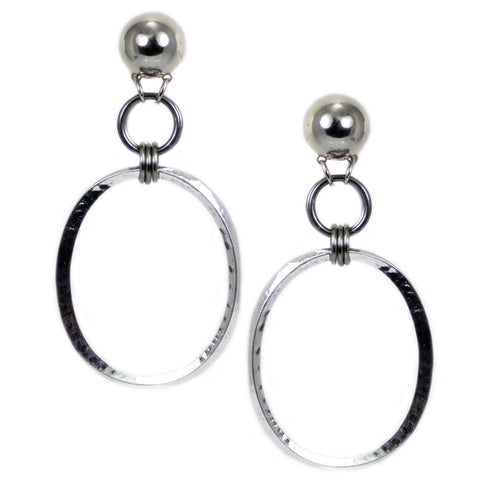 #1020e Silver Tone Large Oval Hoop Earrings