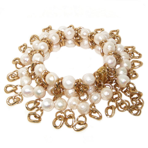 #1021b Gold Tone Chain & Fresh Water Pearl Fringed Bracelet