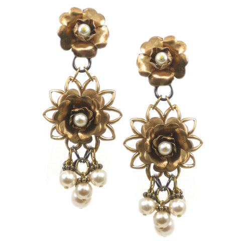 #1022e Gold Tone Pearl Embellished Floral Earrings With Pearl Cluster Drop