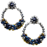 #1024e Hematite, Blue & Bronze Glass Bead Hoop Earrings