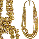 #1024n Gold Tone Deconstructed Chain & Bead Multi Strand Long Necklace