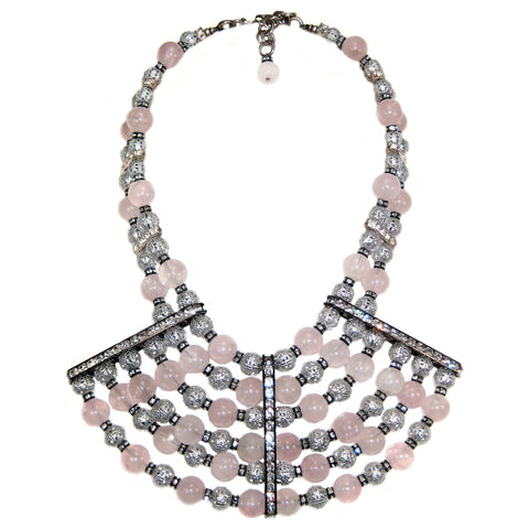 #1025n Silver Tone Filigree, Rose Quartz & Rhinestone Bib Necklace