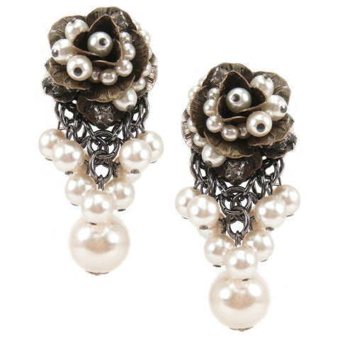 #1026e Gold Tone Pearl Embellished Floral Earrings With Large Pearl Drop