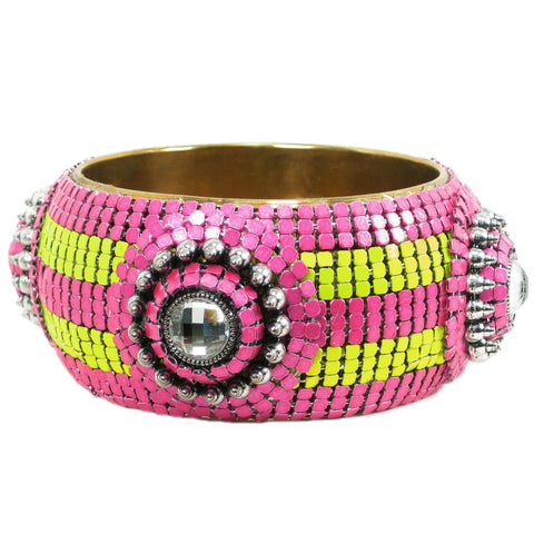 #1027b Fuchsia, Lime & Gold Tone Bangle Bracelet