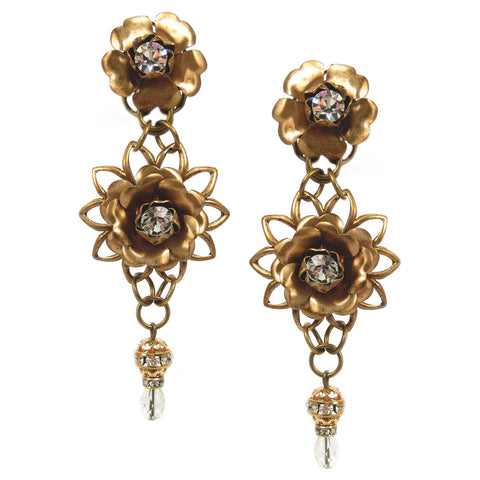 #1027e Gold Tone Rhinestone Embellished Floral Earrings With Crystal Drop