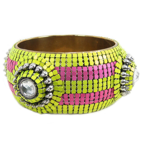 #1028b Lime, Fuchsia & Gold Tone Bangle Bracelet