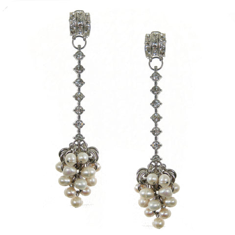 #1029e Silver Tone & Rhinestone Long Drop Earrings With Pearl Cluster