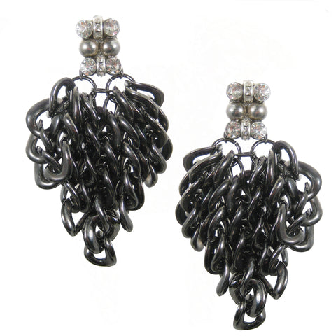 #1032e Gunmetal Tone Chain Fringed Earrings With Rhinestone