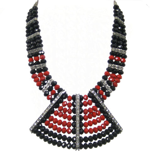 #1032n Red & Black Bead Bib Necklace With Rhinestone Stations
