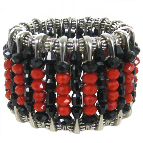 #1038b Red/Black/Silver Tone Safety Pin Cuff Bracelet