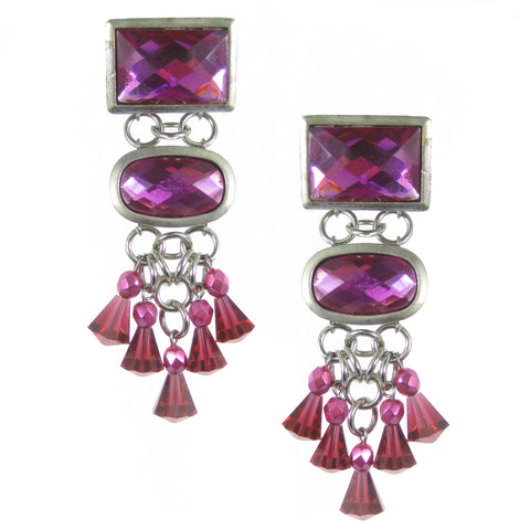 #1039e Silver/Fuchsia Cabochon & Crystal Drop Earrings