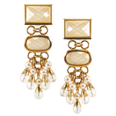 #1040e Gold Tone/Ivory Cabochon, Pearl & Crystal Drop Earrings