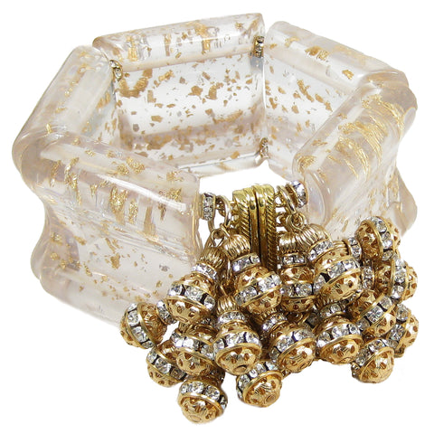 #1041b Gold Speckled Clear Lucite Cuff Bracelet With Gold & Rhinestone Beads