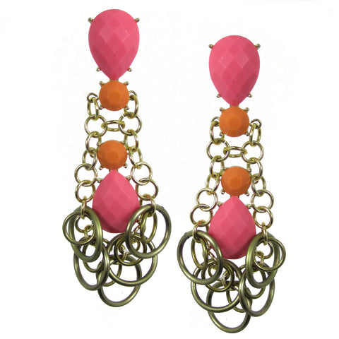 #1041e Pink, Orange & Gold Tone Long Drop Earrings