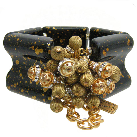 #1043b Gold Speckled Black Lucite Cuff Bracelet With Gold & Rhinestone Beads