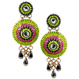 #1047e Lime & Fuchsia Earrings With Crystal and Gunmetal Drop Detail