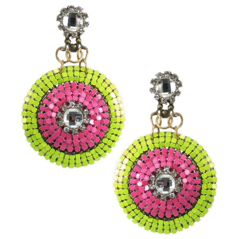 #1048e Lime & Fuchsia Earrings With Crystal Rhinestone