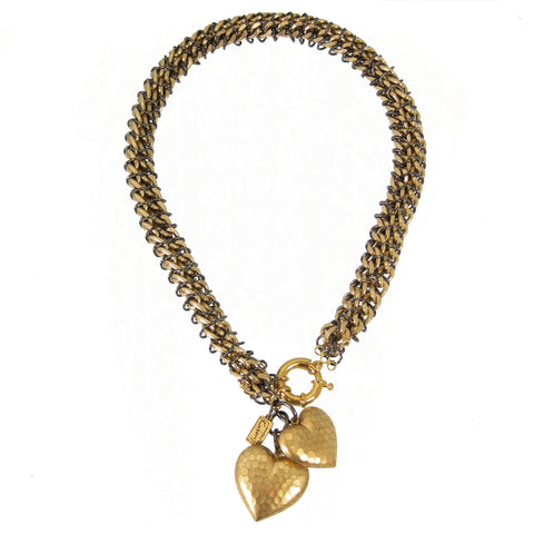 #104n Gold Chain Mail Rope Necklace With Hearts