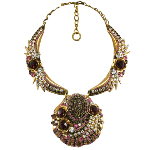 #1051n Gold Tone Collar/Pendant Statement Necklace With Crystal, Pink & Ruby Rhinestones & Flowers
