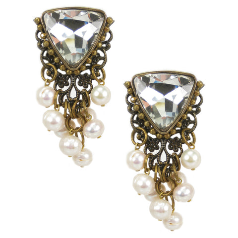 #1053e Old Gold Filigree, Pearl & Crystal Embellished Earrings