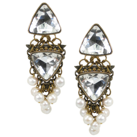 #1054e Old Gold Filigree, Pearl & Crystal Embellished Long Drop Earrings