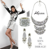 #1054n Chain & Rhinestone Encrusted Bib Necklace