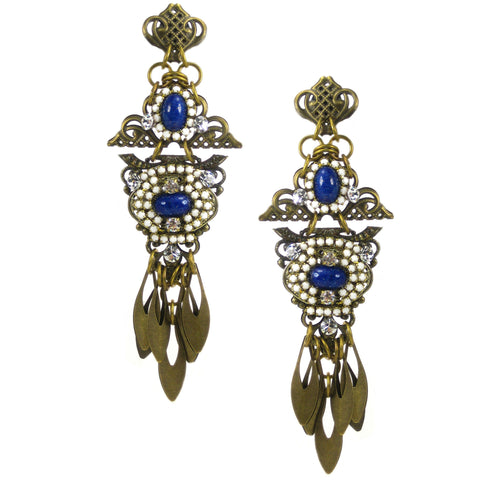 #1055e Old Gold Filigree Shoulder Duster Earrings With Lapis Blue, White & Crystal Stone