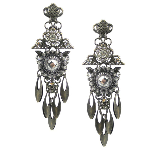 #1056e Gunmetal Filigree Shoulder Duster Earrings With Crystal Rhinestone