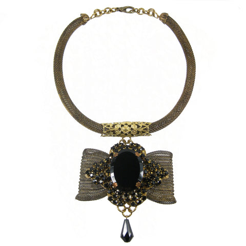 #1059n Old Gold Mesh Rope Choker With Jet Embellished Bow Pendant