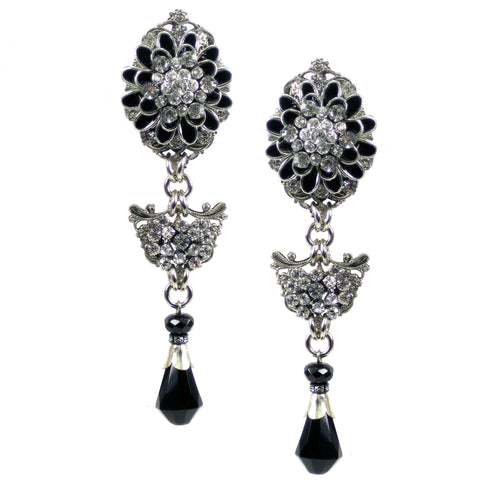 #1059e Silver Tone Filigree & Black Floral Drop Earrings With Jet & Rhinestone